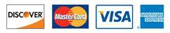 We accept Visa, American Express, MasterCard and Discover