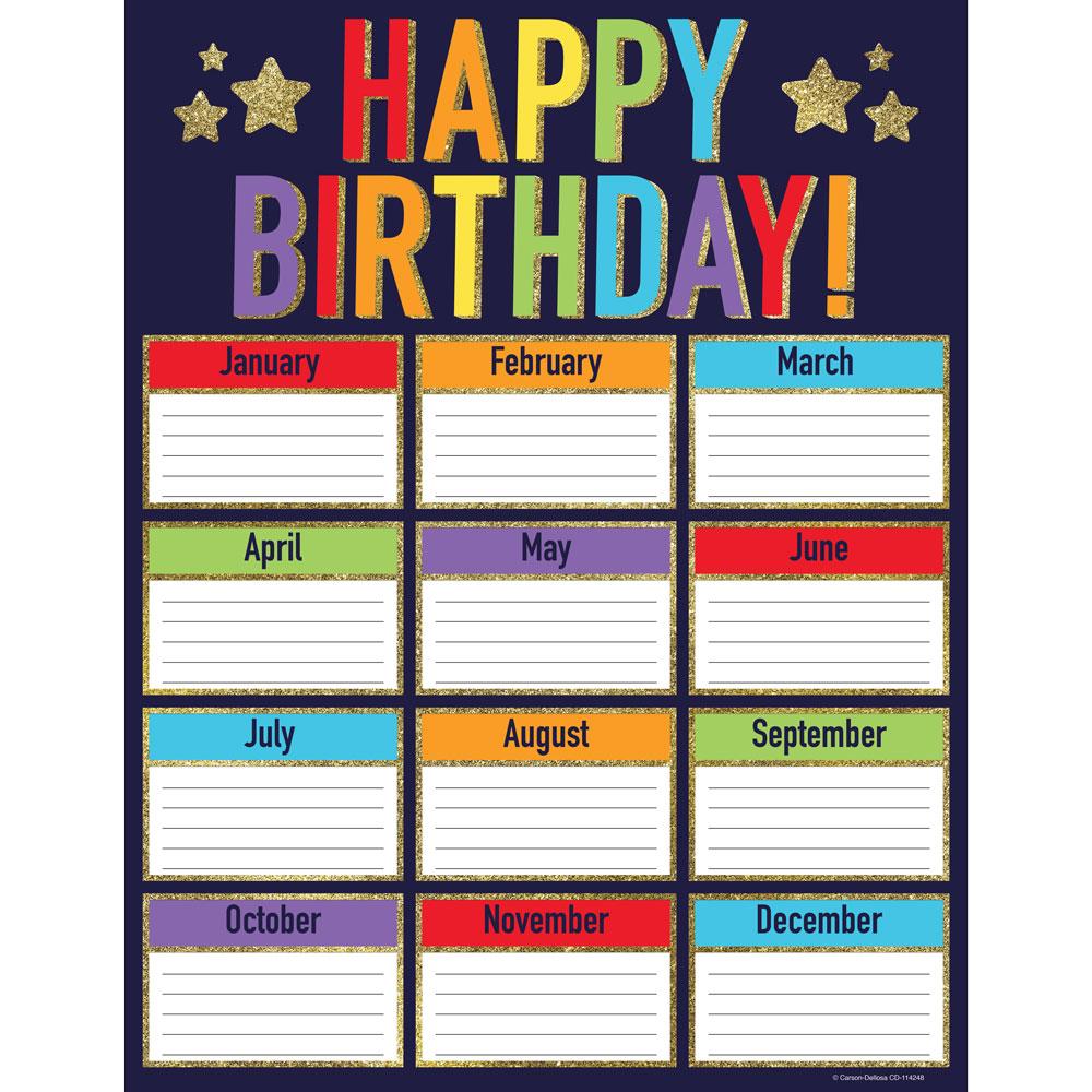 Sparkle Shine Glitter Birthday Chart