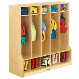 Jonti-Craft® 5 Section Coat Locker with Step