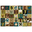 Toddler Alphabet Blocks Carpet - Nature Colors - 6' x 9'