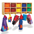 Jonti-Craft® 10 Section Wall Mount Coat Locker with Colored Trays