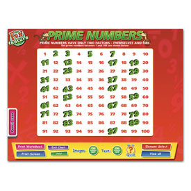 Prime Numbers Whiteboard Chart CD-ROM