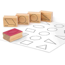 Wooden GeoModel® Plane Shape Stamps: Set of 15