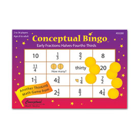 Conceptual Bingo™: Early Fractions: Halves-Fourths-Thirds