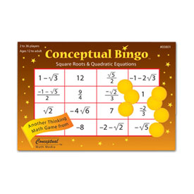 Conceptual Bingo™: Square Roots & Quadratic Equations
