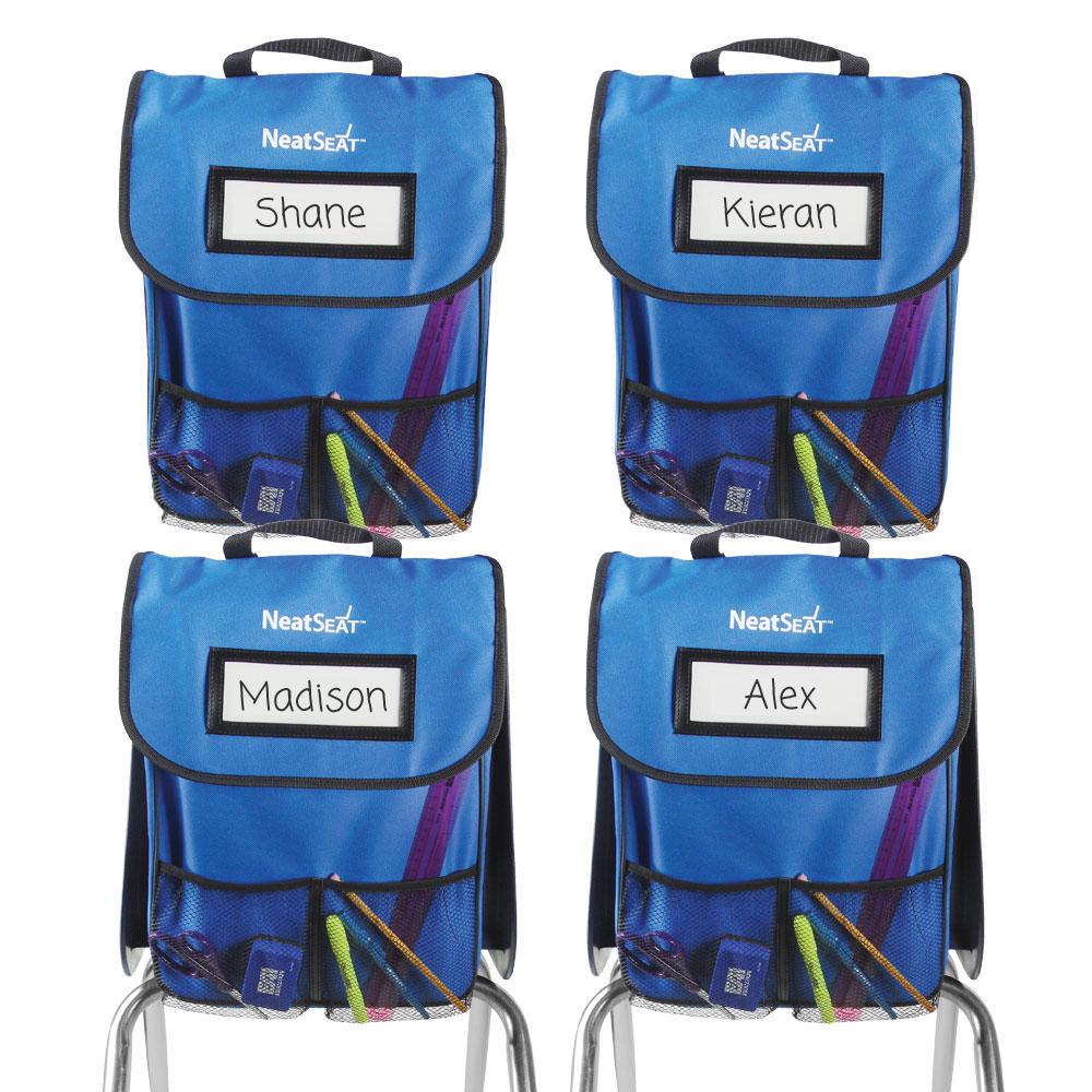 NeatSeat® Classroom Chair Organizer: Set of 4 - Blue - Web