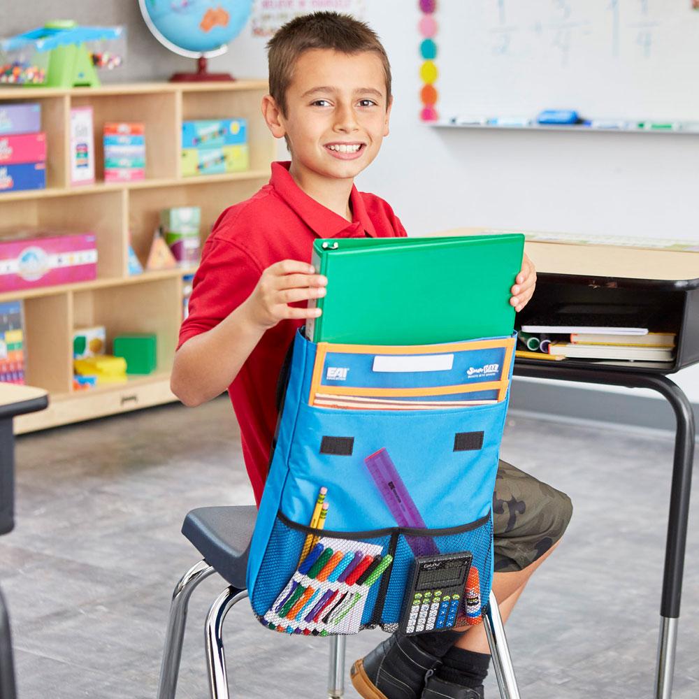 NeatSeat® Classroom Chair Organizer: Set of 4 - Blue