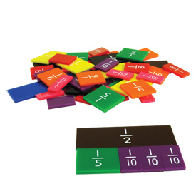 "Single-Sided 6"" Fraction Tiles Student Set of 51"