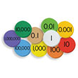 Sensational Math™ 10-Value Decimals to Whole Numbers Place Value Discs 12-Pack