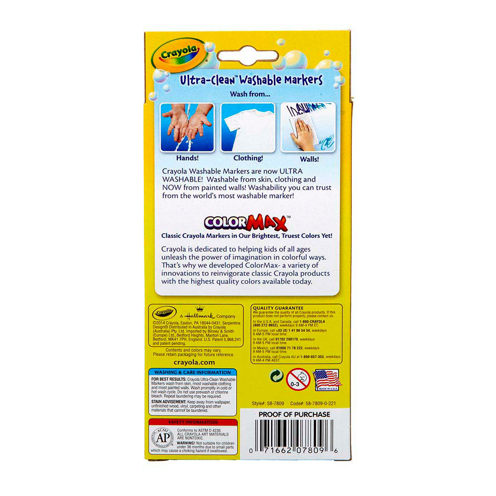 Crayola Ultra Clean Washable Classic Fine Line Markers Set Of 8 Web Exclusives Eai Education