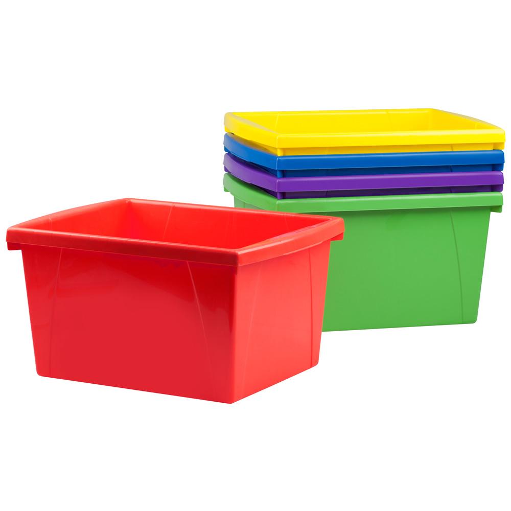 4 Gallon Classroom Storage Bin   Assorted Colors   Set Of 6