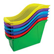 Small Book Bin with Front Pockets - Assorted Colors - Set of 6