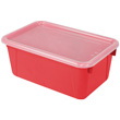 Small Cubby Bin with Cover - Red - Set of 6