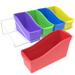 Large Book Bins with Metal Shelf Rack - Assorted Colors - Set of 5