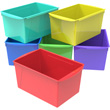 Extra Large Interlocking Book Bins - Assorted Colors - Set of 6