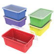 Small Cubby Bin with Cover - Assorted Colors - Set of 5
