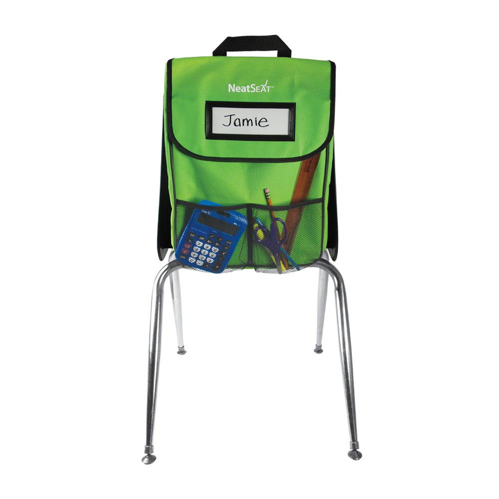 NeatSeat® Classroom Chair Organizer: Set of 4 - Lime Green