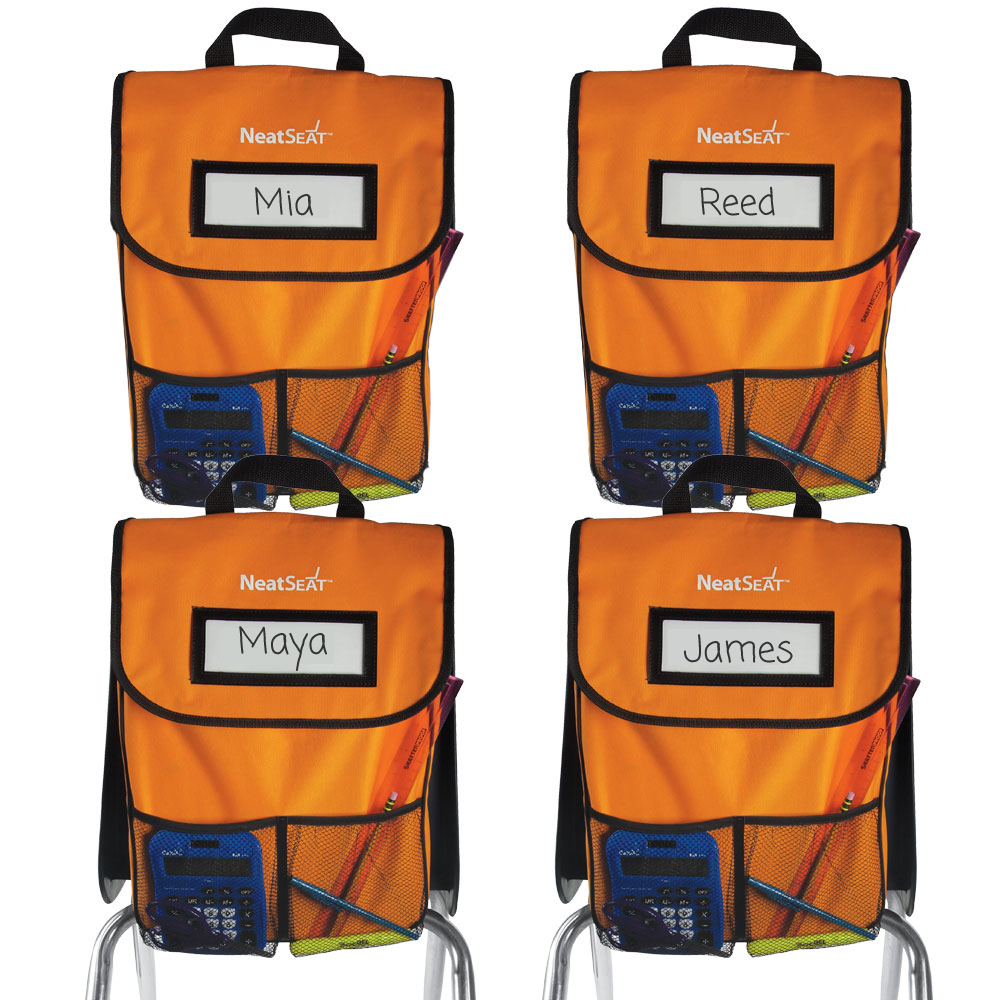NeatSeat® Classroom Chair Organizer: Set of 4 - Orange