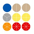 Fraction Fluency Circles: Blank - 15 Sets of 38 in Tub
