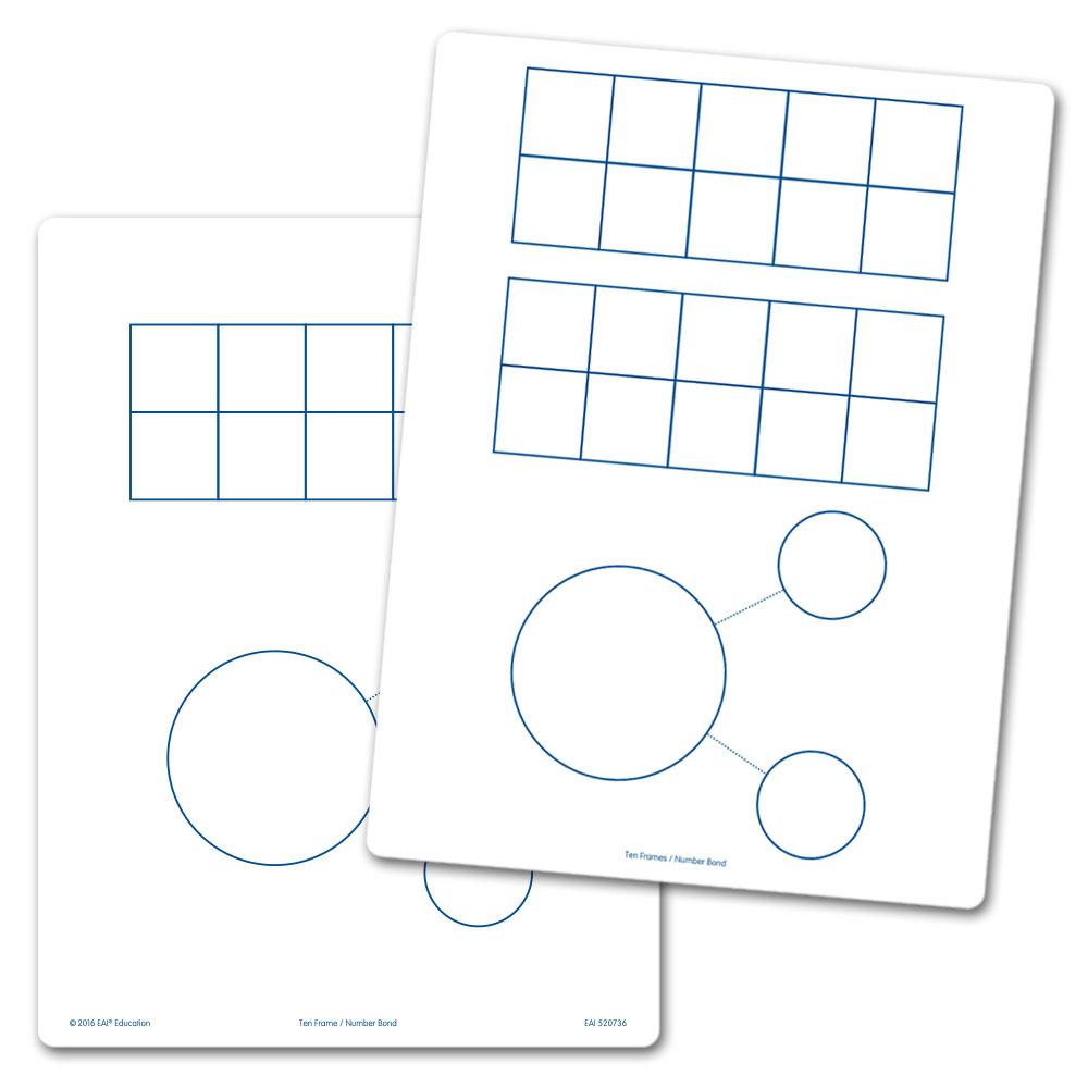 Ten Frames & Number Bonds Flexible Dry-Erase Boards - Set of 10 ...