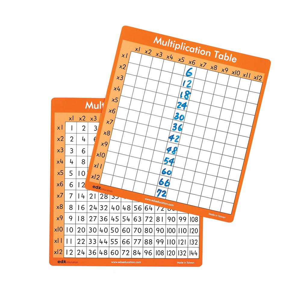 Dry Erase Multiplication Tables 1 12 Set Of 30 Math Manipulatives