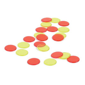 Transparent Two-Color Counters: Red/Yellow - Set of 50