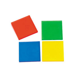 "Transparent 1"" Square Color Tiles - Set of 48"