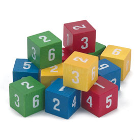 Wooden Number Cubes - Set of 12