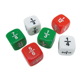 Fraction Dice: Red/Green/White - Set of 6