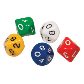 10-Sided Dice 0-9: Set of 25