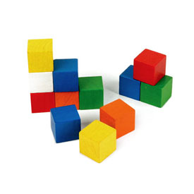 Wooden Cubes: 2cm Color - Set of 102