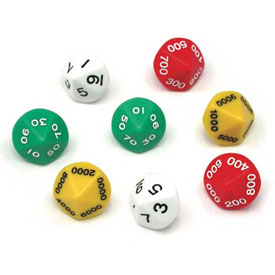 Small Place Value Dice - Ones to Thousands - Set of 8