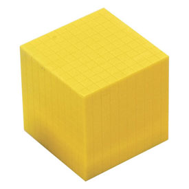 Base Ten Thousand Cube: Yellow Plastic