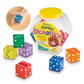 6-Sided Jumbo Dice in Dice - Set of 12