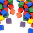 "Wooden Cubes: 1"" Assorted Colors - Set of 102"