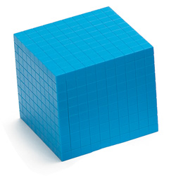 Base Ten Thousand Cube: Blue Plastic - Set of 25 in Tub