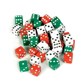 Dice: Red/Green/White - Set of 600
