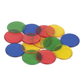 "Transparent Counters: 1"" - Set of 1000"