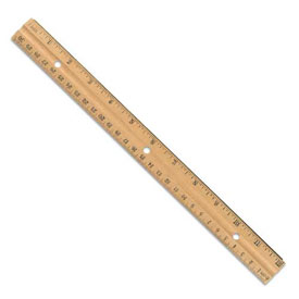 "12"" Wood Ruler w/Holes - Set of 144 in Tub"