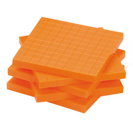 Base Ten Flats: Orange Plastic - Set of 250 in Tub