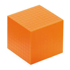 Base Ten Thousand Cube: Orange Plastic - Set of 25 in Tub