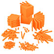 Base Ten Intermediate Classroom Set: Orange Plastic - Blocks Only