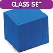 QuietShape® Base Ten Cube: Blue - Set of 25 in Tub