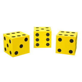 Jumbo QuietShape® Foam Dot Dice - Set of 36 in Tub