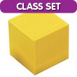 Base Ten Thousand Cube: Yellow Plastic - Set of 25 in Tub