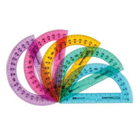 "6"" ShatterProof Protractor: 5 Colors - Set of 10"