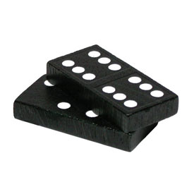 Double-Six Dominoes: Wood: Black - 30 Sets of 28 in Tub