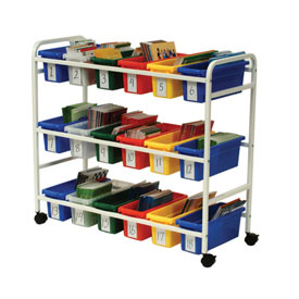 Leveled Reading Book Browser Cart with 18 Small Tubs