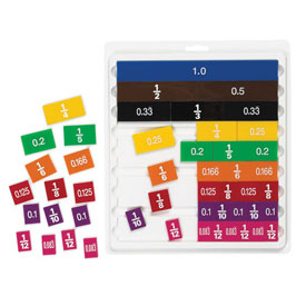 Fraction/Decimal Tiles with Tray - 30 Sets of 51 in Tub