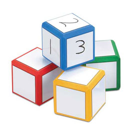 "Magnetic QuietShape® Foam 3"" Write-On/Wipe-Off Dice: Set of 4 - Classic Colors"
